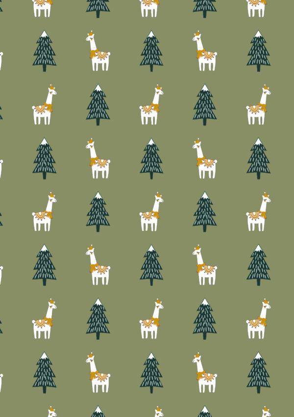 Cadeaupapier kerst groen lama Xmas