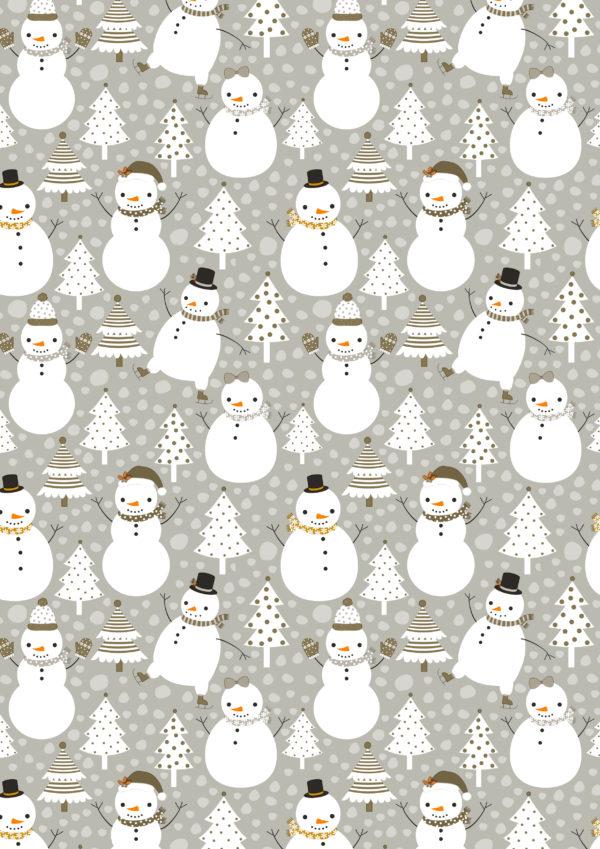 Kerst inpakpapier Sneeuwpop Grijs