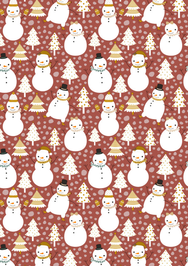 Kerst inpakpapier papier sneeuwpop brique