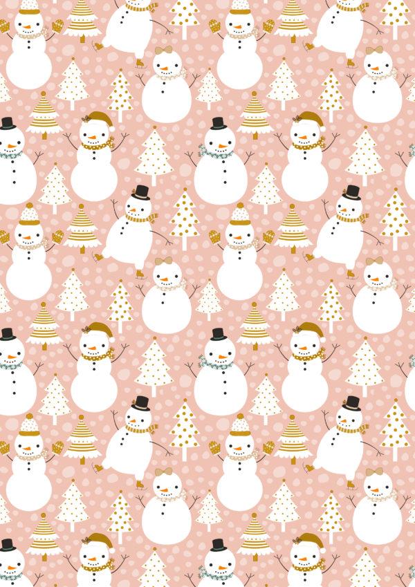 kerst inpakpapier papier sneeuwpop roze