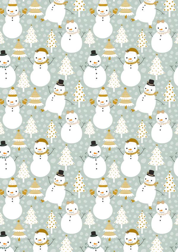 Kerst inpakpapier Sneeuwpop Groen