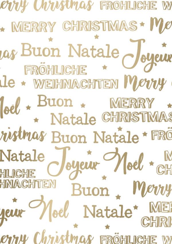 Kerstpapier Merry Christmas Wit Goud