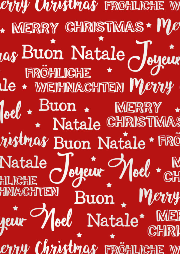 Cadeaupapier Merry Christmas Metallic Rood Wit