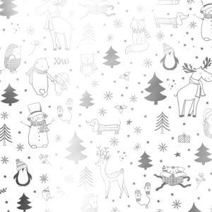 Kerst cadeaupapier zwart wit Xmas