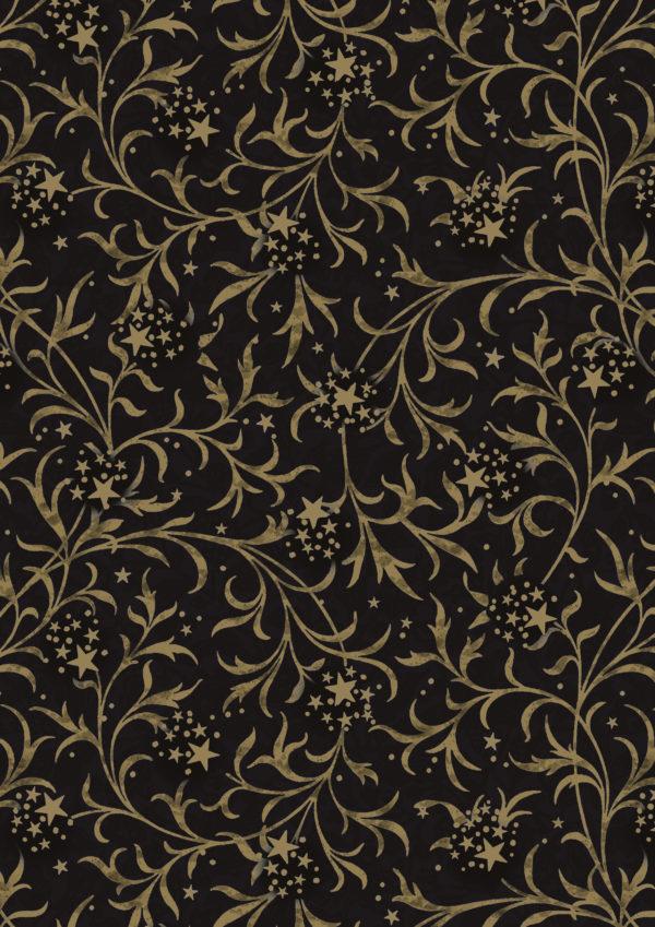 Zwart met Goud Kerstpapier Ornament