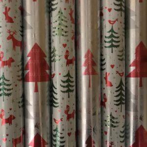 Kerst cadeaupapier 6 rolletjes 200x70cm Kerstbomen