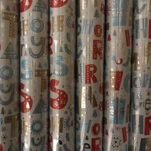 Kerst cadeaupapier 6 rolletjes 200x70cm Letters