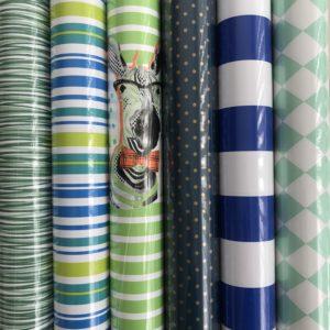 Cadeaupapier 7 rolletjes 200x70cm Blauw Groen