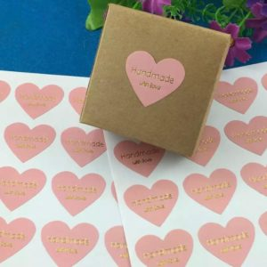 Cadeaustickers Handmade Whit Love Roze