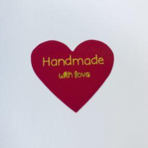 Cadeaustickers Handmade Whit Love Fuchsia