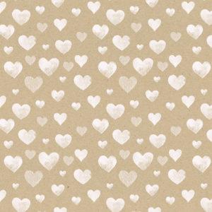 Cadeaupapier Bruin met Witte Hartjes