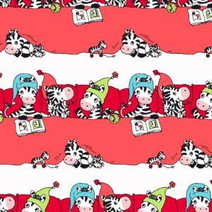 Rood Inpakpapier met Zebra's Kids