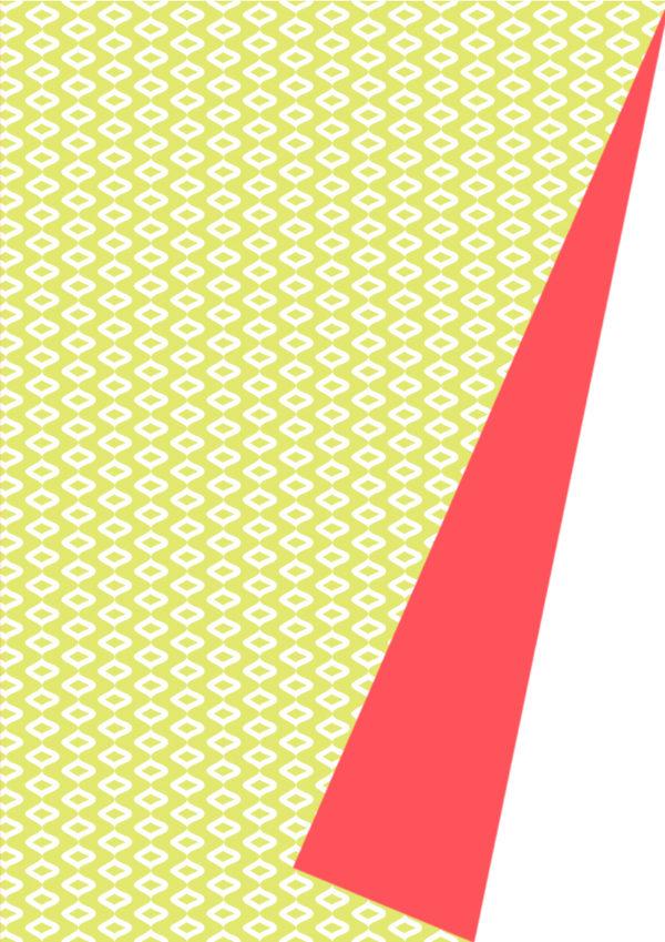 Dubbelzijdig Cadeaupapier Geel Rood Neon Motief