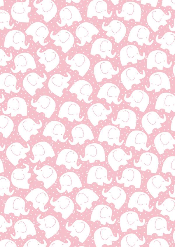 Roze Inpakpapier met kleine Olifanten