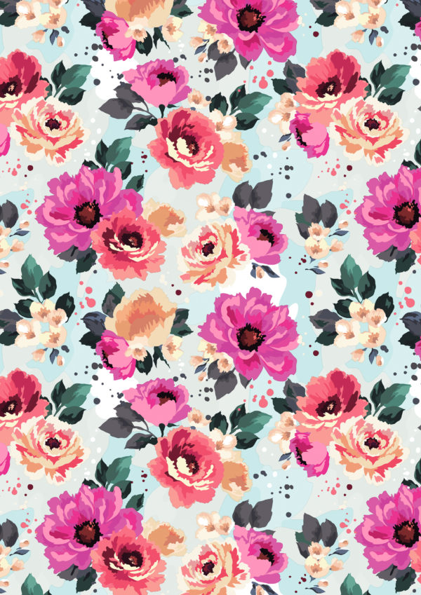 Cadeaupapier met gekleurde Zomerse Bloemen