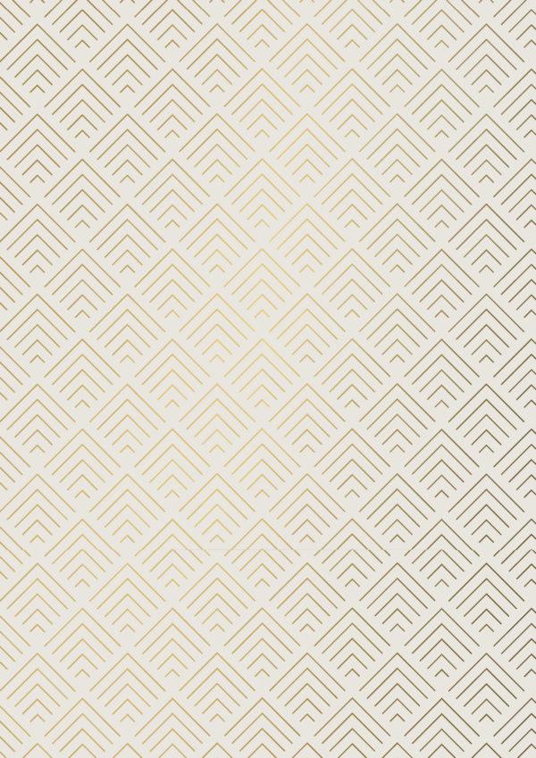 Cadeaupapier Geometrisch Crème Goud