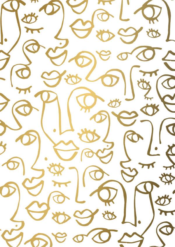 Goud Wit cadeaupapier gezichten