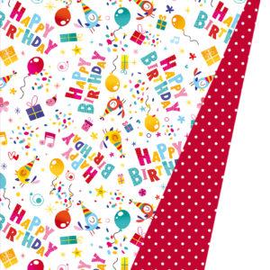 Dubbelzijdig Cadeaupapier Happy Birthday Vogels