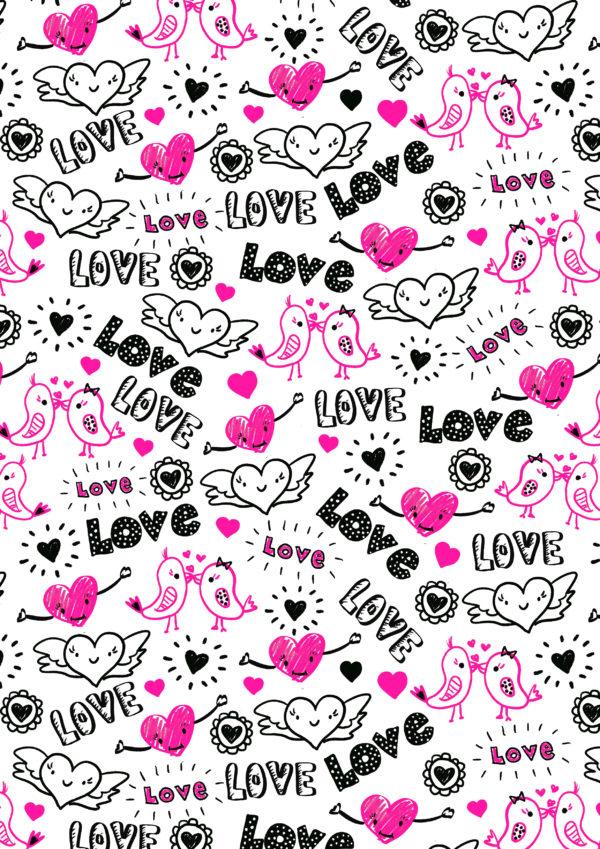 Zwart Roze Cadeaupapier met Love
