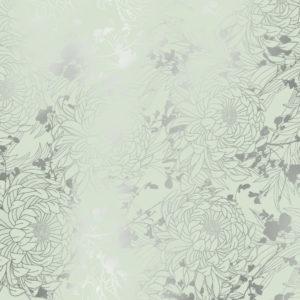 Cadeaupapier Mint met Metallic Bloemen