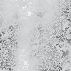 Cadeaupapier Zilver met Metallic Bloemen