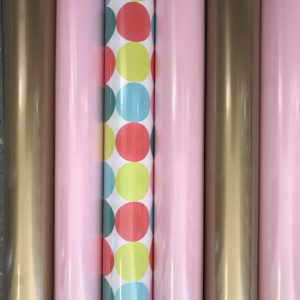 6 rolletjes Cadeaupapier Roze Goud