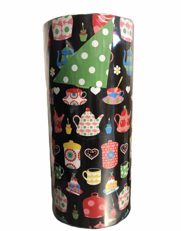 Dubbelzijdig Kraftpapier Teacups Zwart C4102
