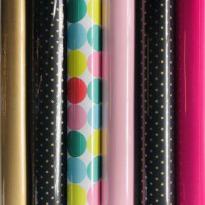 6 rollen Cadeaupapier Roze Zwart Goud
