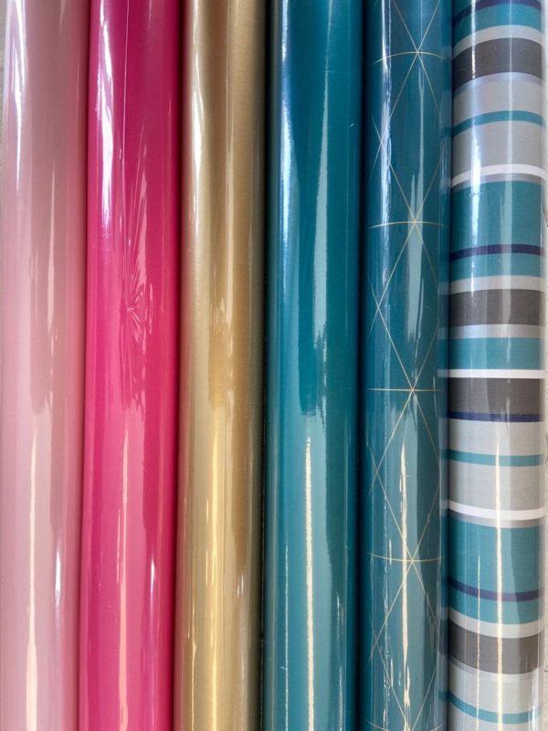 Kadopapier Roze Groen 6 rolletjes