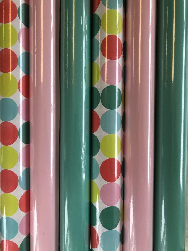 Cadeaupapier Pastel Stippen 6 rolletjes