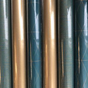 6 rolletjes Cadeaupapier Blauw Groen