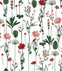 Cadeaupapier gedroogde Bloemen Rood Groen