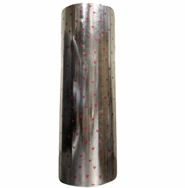 Zilver Cadeaupapier Roze Hartjes C4112