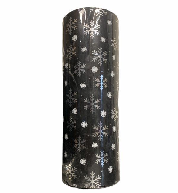 Zwart Inpakpapier met Sneeuwvlokken C4141