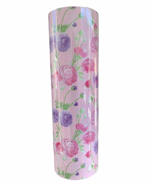 Roze Cadeaupapier Bloemen Motief C4145