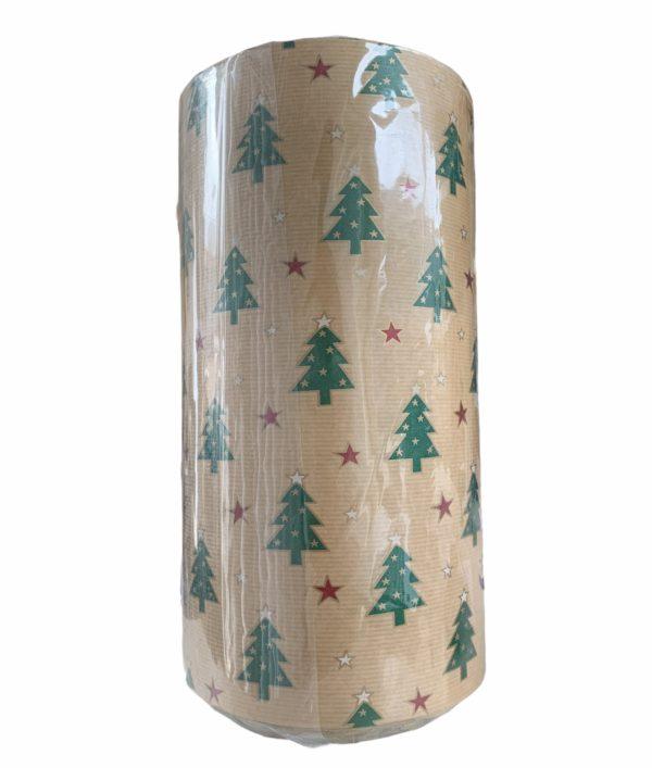Bruin Kraftpapier Kerstbomen Sterren C4156