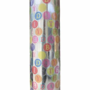 Cadeaupapier Zilver Happy Birthday C4163