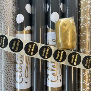 Cadeaupapier Pakket Zwart Goud Milaan