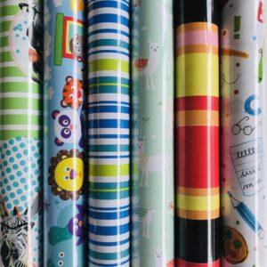 Kinder inpakpapier Cadeaupapier 6 Kleine rollen