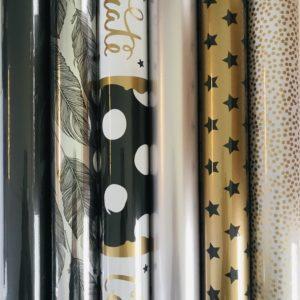 6 rolletjes inpakpapier Goud Zwart Wit