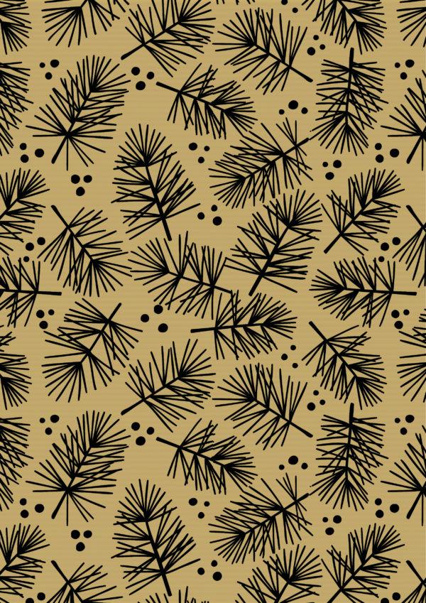Bruin Kraft Inpakpapier Kerst Pine Black