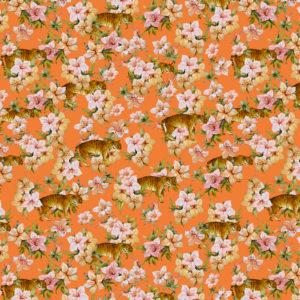 Inpakpapier Oranje met Tijgers en Bloemen