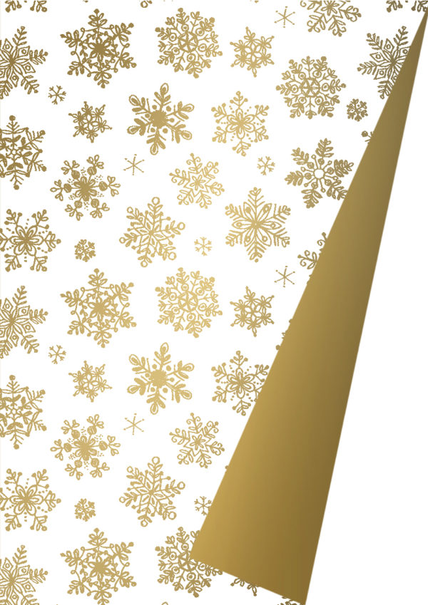 Kerst cadeaupapier Sneeuwkristallen Goud