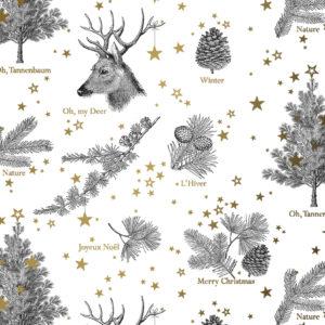 Wit Goud Kerst inpakpapier Oh my Deer