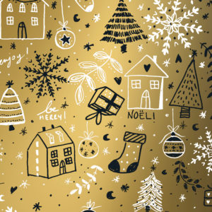 Inpakpapier Kerst Goud Happy Holiday