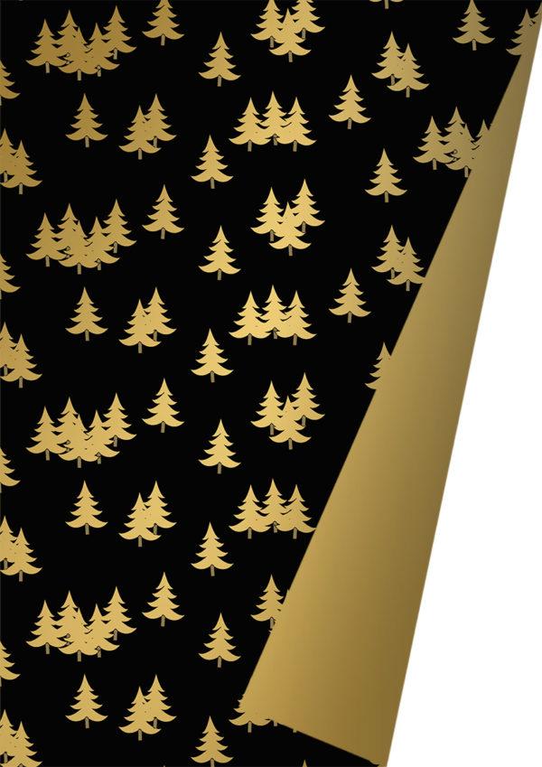 Kerstpapier Zwart Goud met kerstbomen