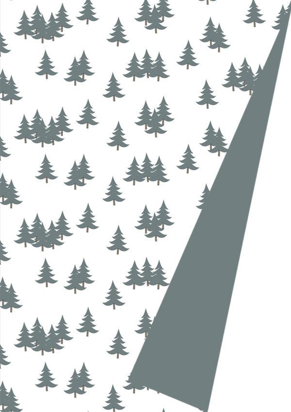 Kerstpapier Kerstbomen Xmas Trees Grijs