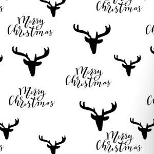 Cadeaupapier kerstmis Rendier Zwart Wit