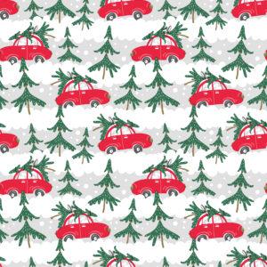 Kerst papier Xmas Cars Red