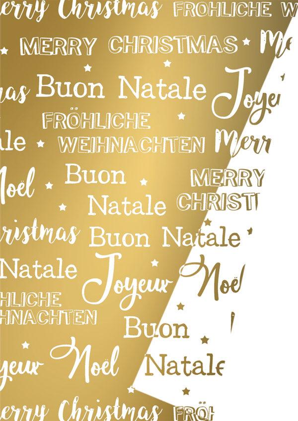Dubbelzijdig Kerstpapier Merry Xmas Goud